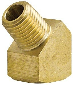 "45 Degree Brass Elbow Street - 1/8"" MNPT x 1/8"" FNPT"