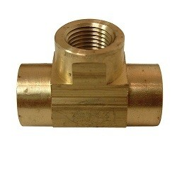 "Brass TEE Female NPT - 1/8"""