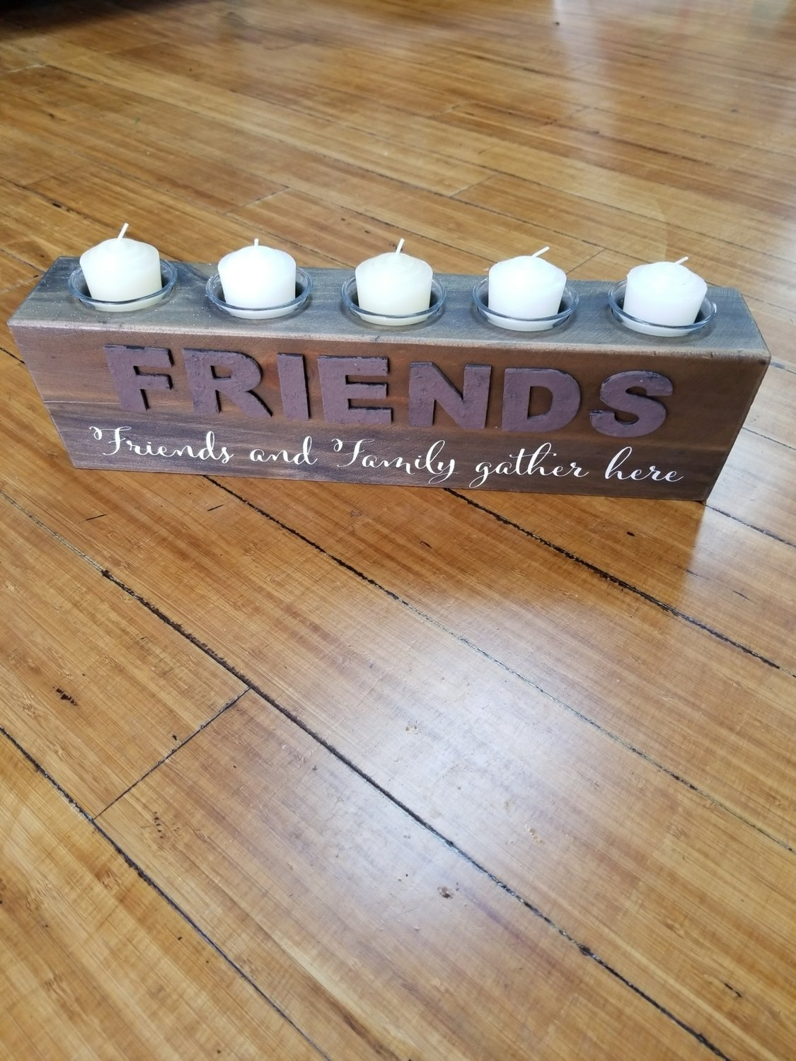 16.5 Inch Friends Gather Wood With Votives