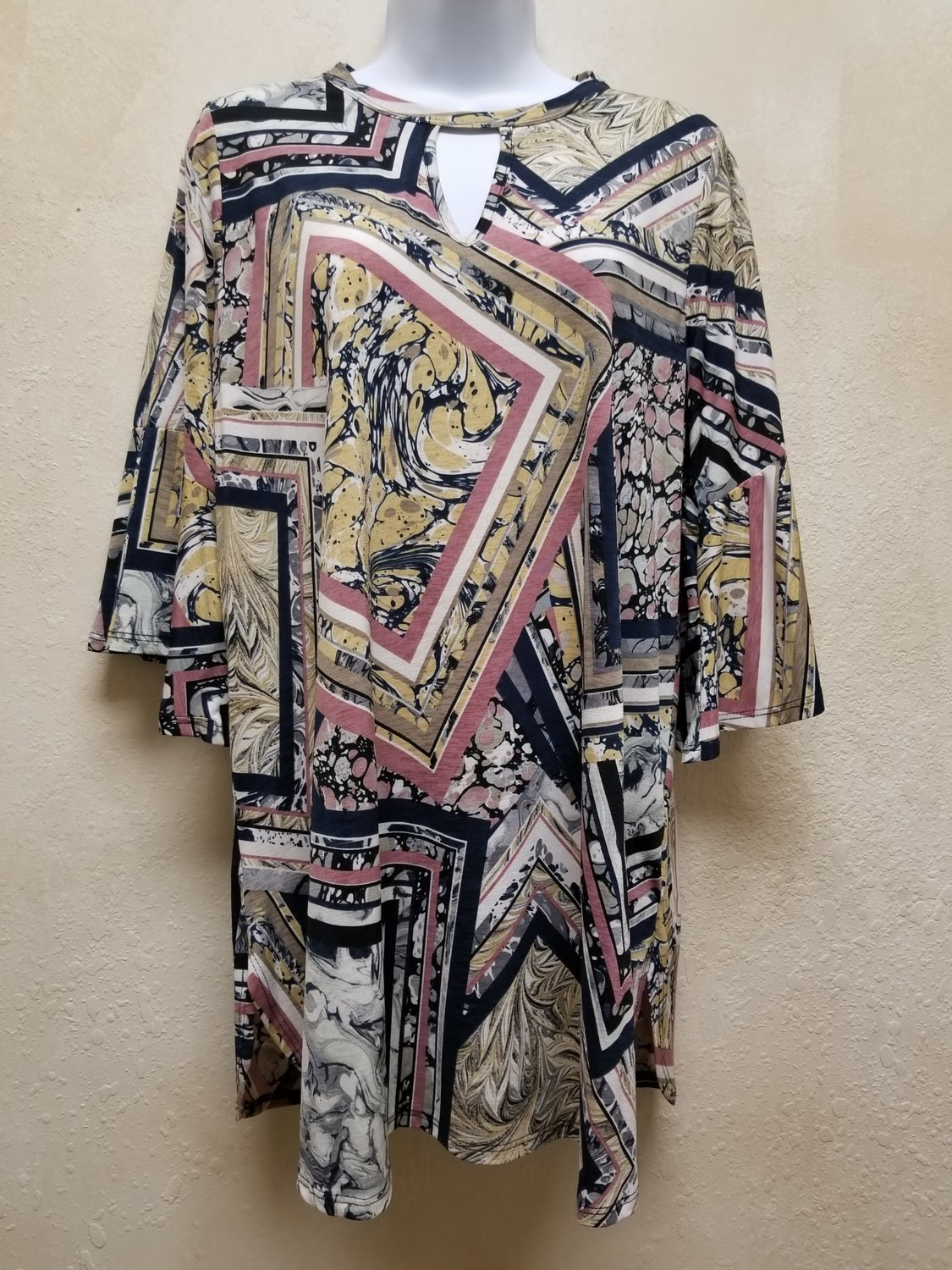 Printed Tunic Top with Bell Sleeves