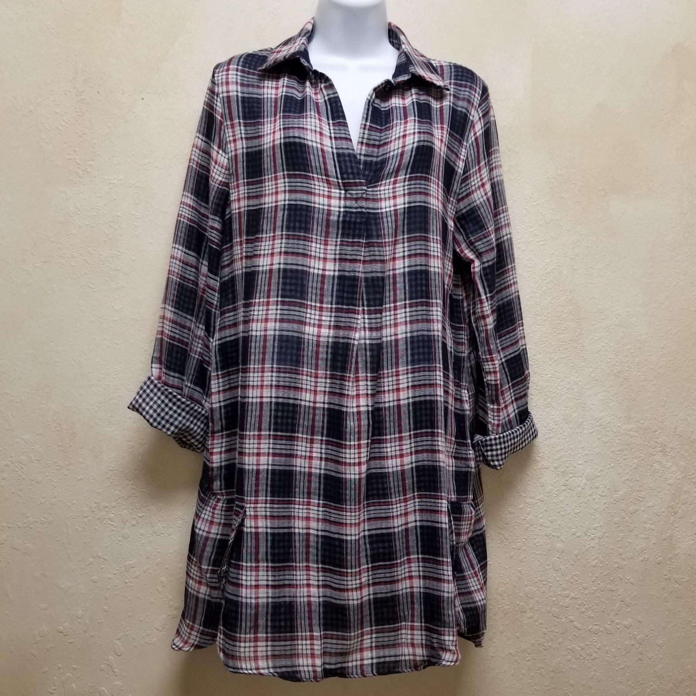 Plaid Long Sleeve V Neck Collared Dress