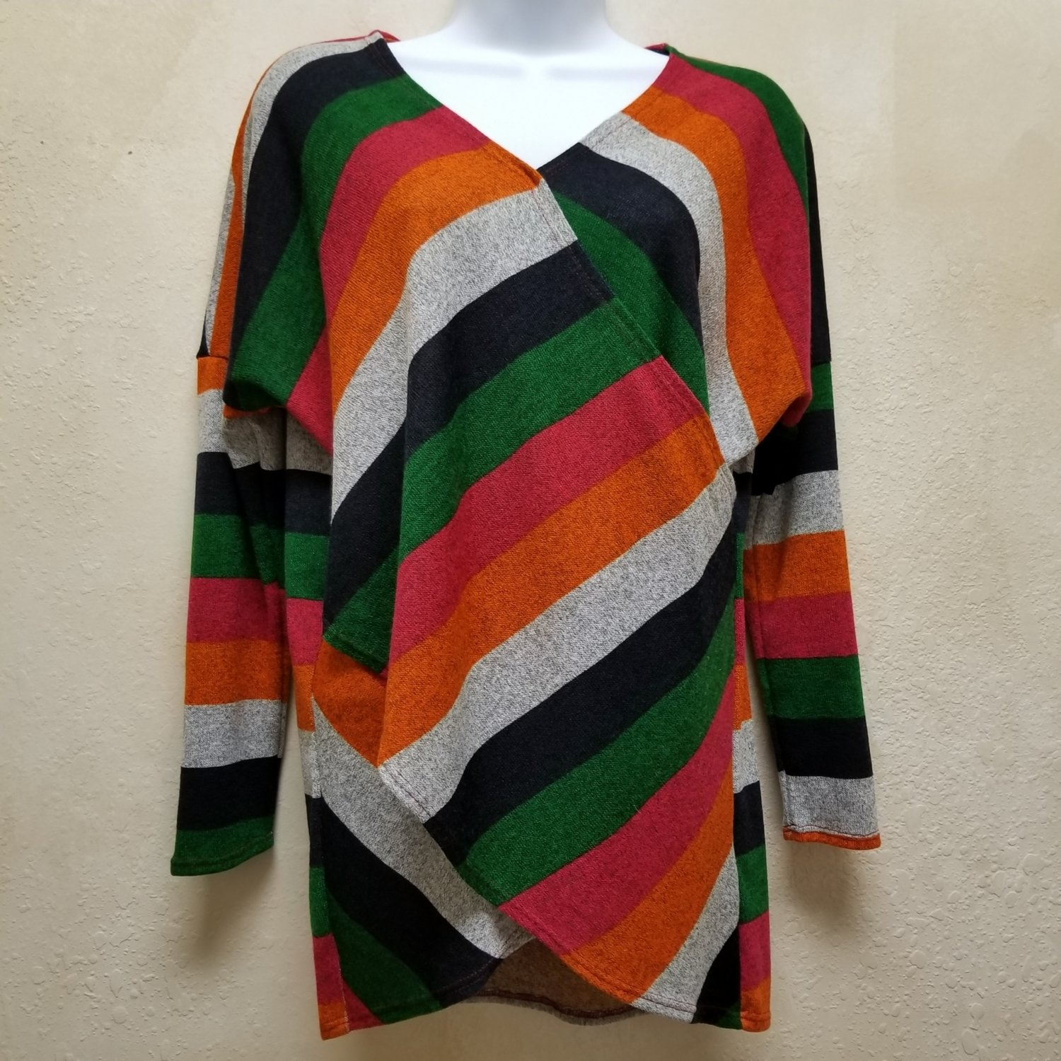 Striped Multi Color Wrap Long Sleeve Top