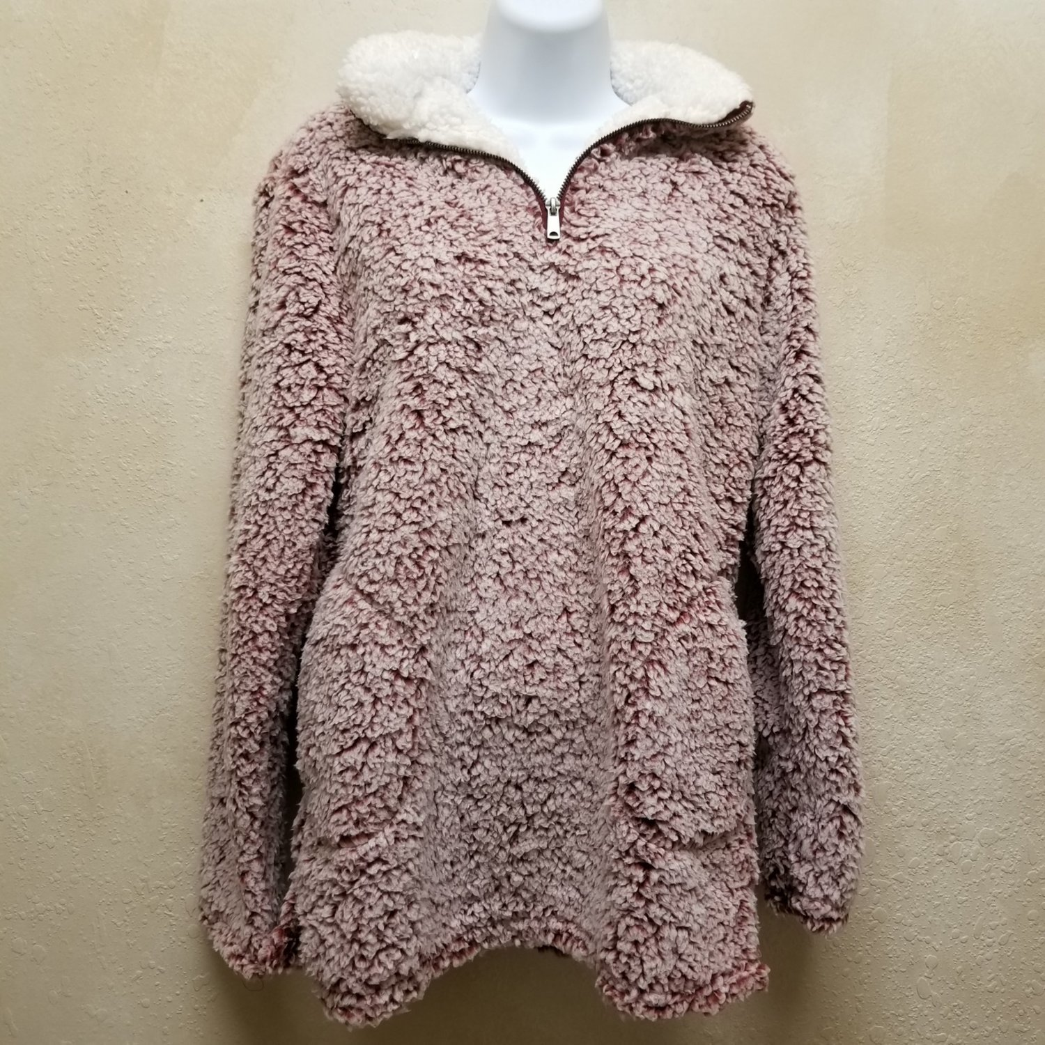 Mock Neck Two Tone Sherpa Pullover