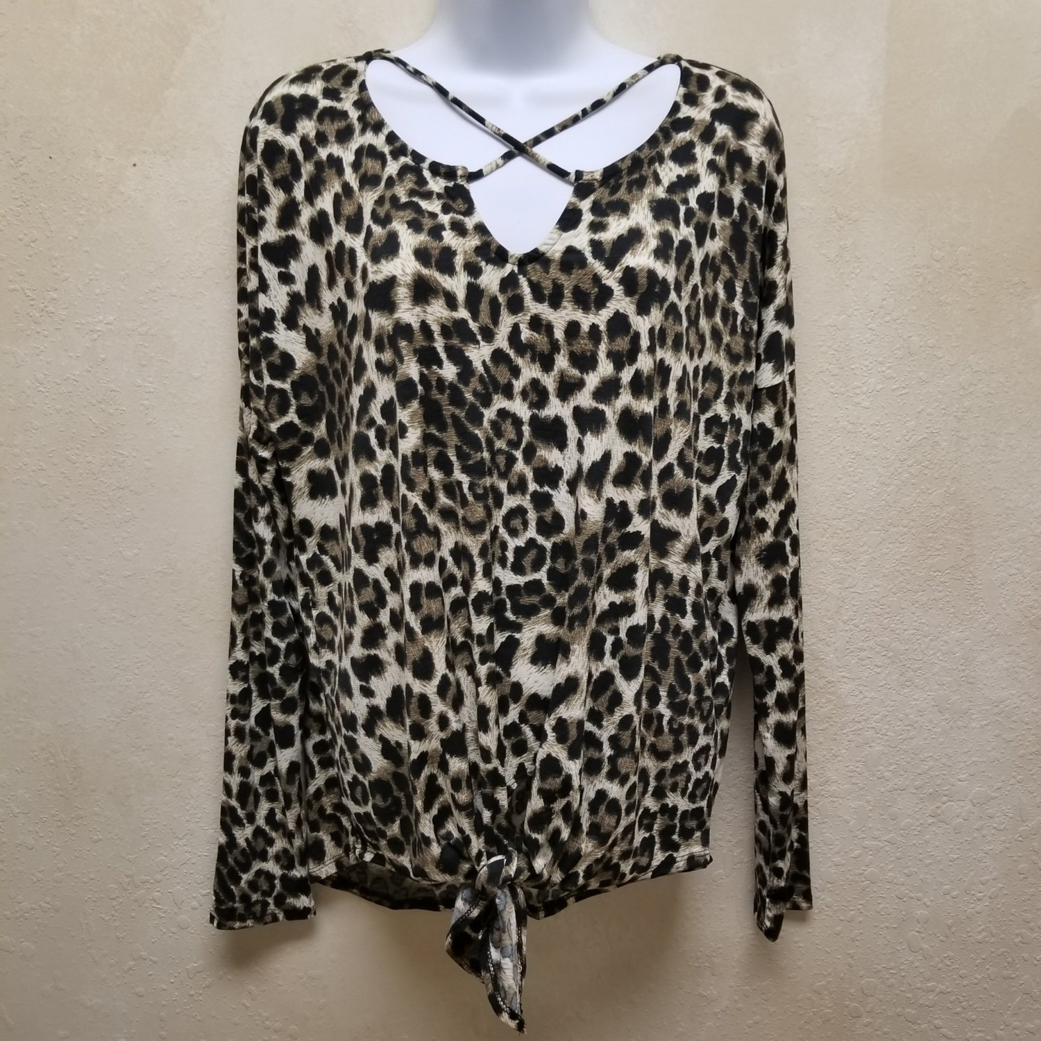 Cheetah Print Top with Criss Cross Neck and Front Self Tie Knot