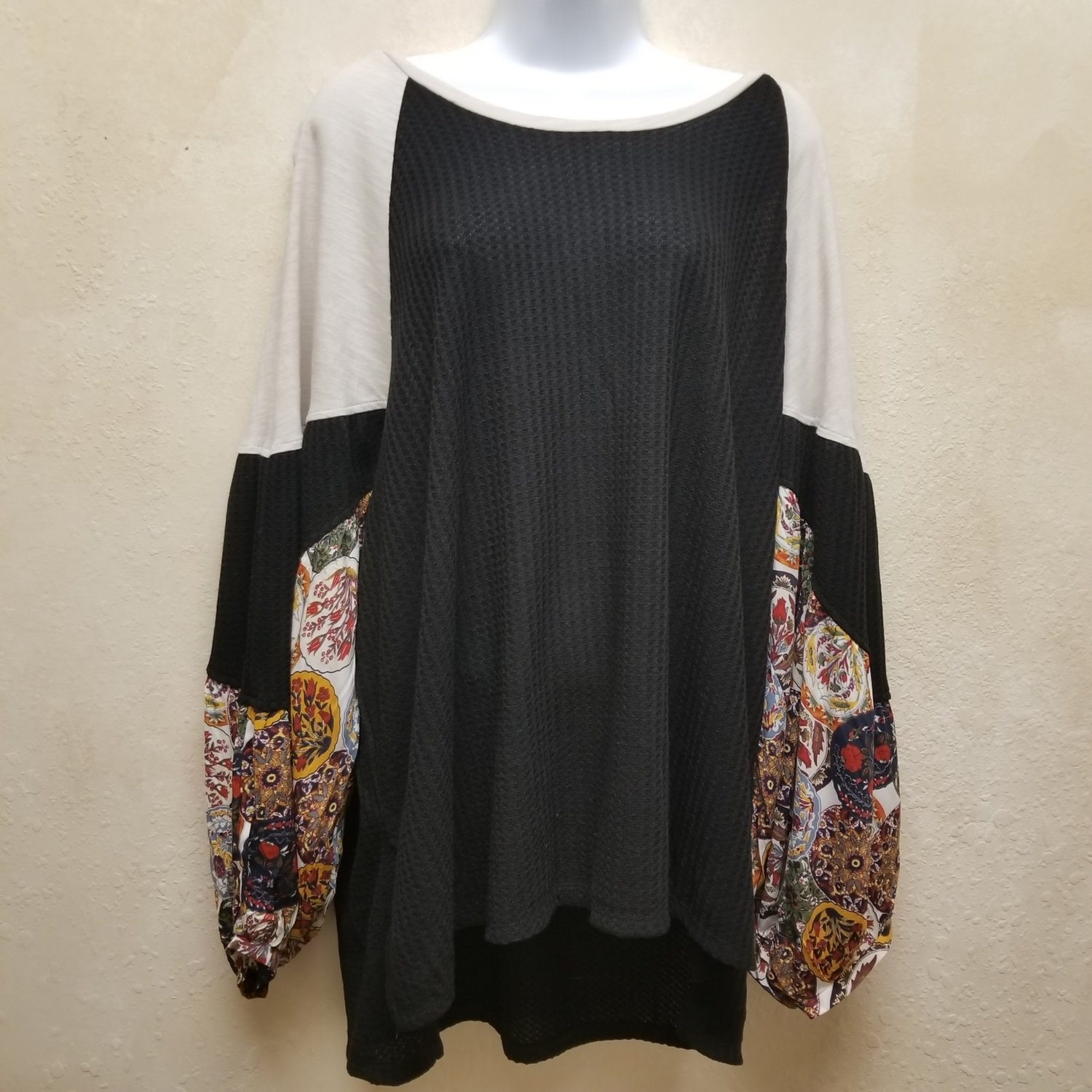 Waffle Knit Top With Floral Print Puff Sleeves