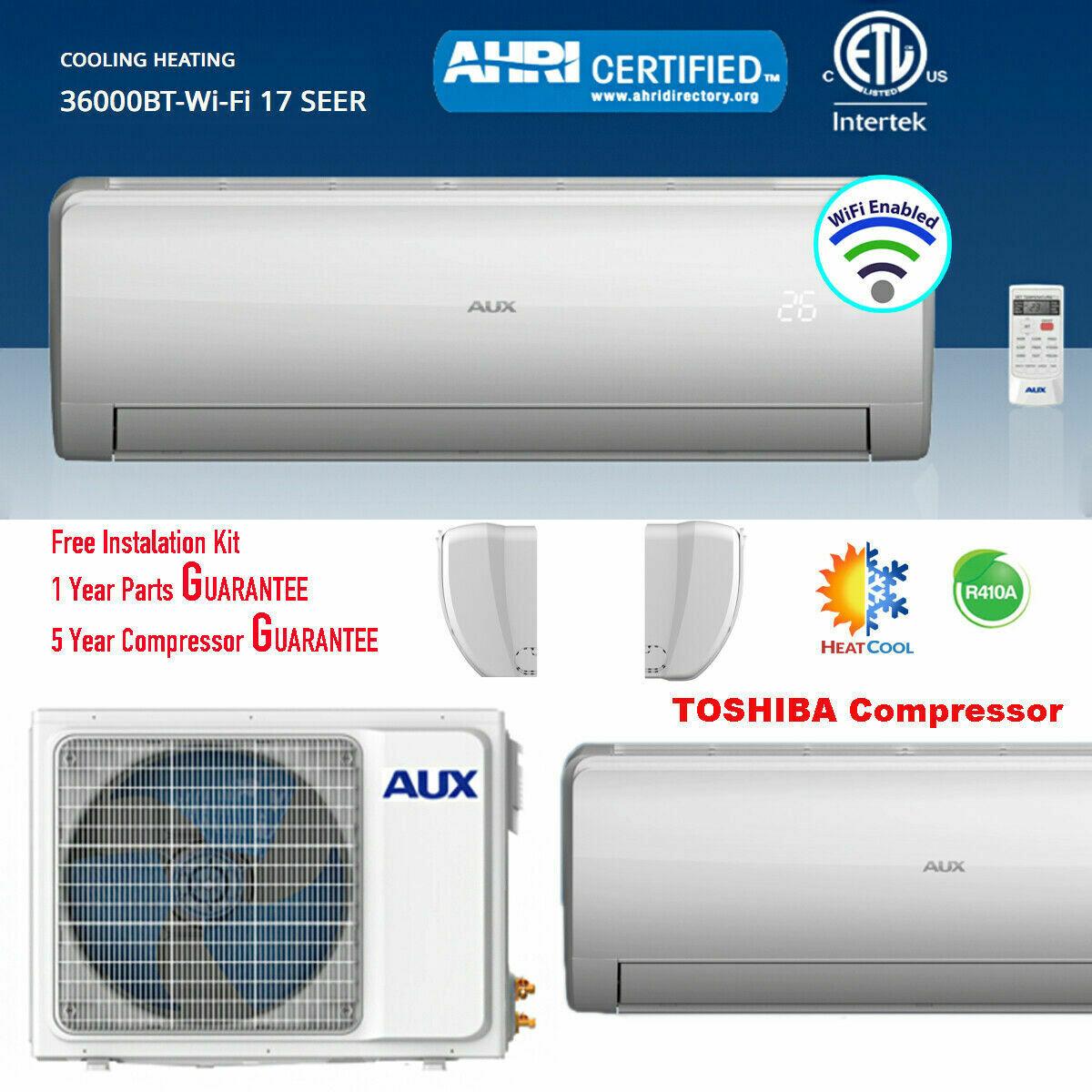AUX 36000 BTU Ductless Air Conditioner Heat Pump MINI Split 3 TON 230V 17 SEER 25 ft Line set WiFi Control