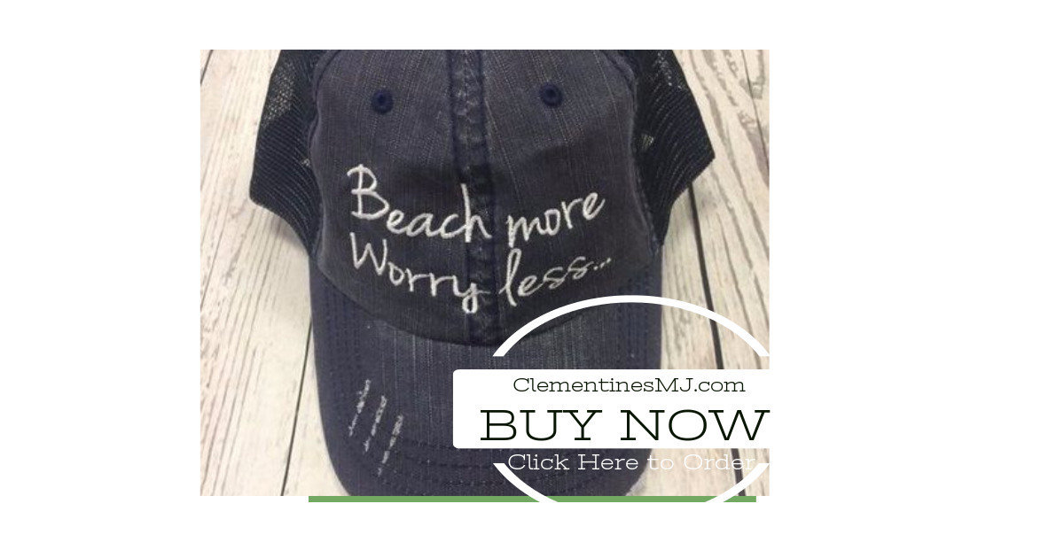 70754758b77 Beach More. Worry Less.... Trucker hat with mesh back and velcro closing