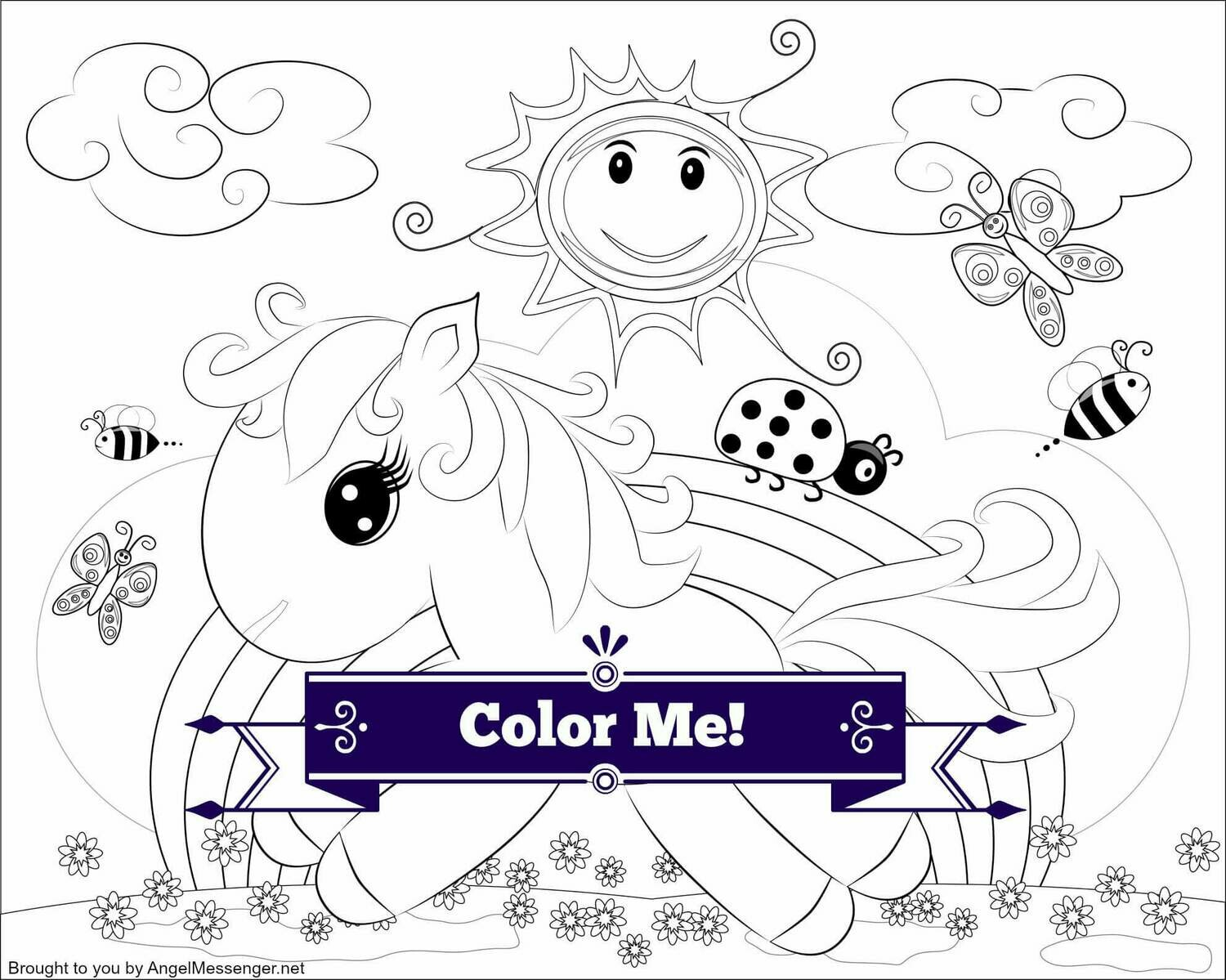Rainbow Pony Coloring Page (for kids)