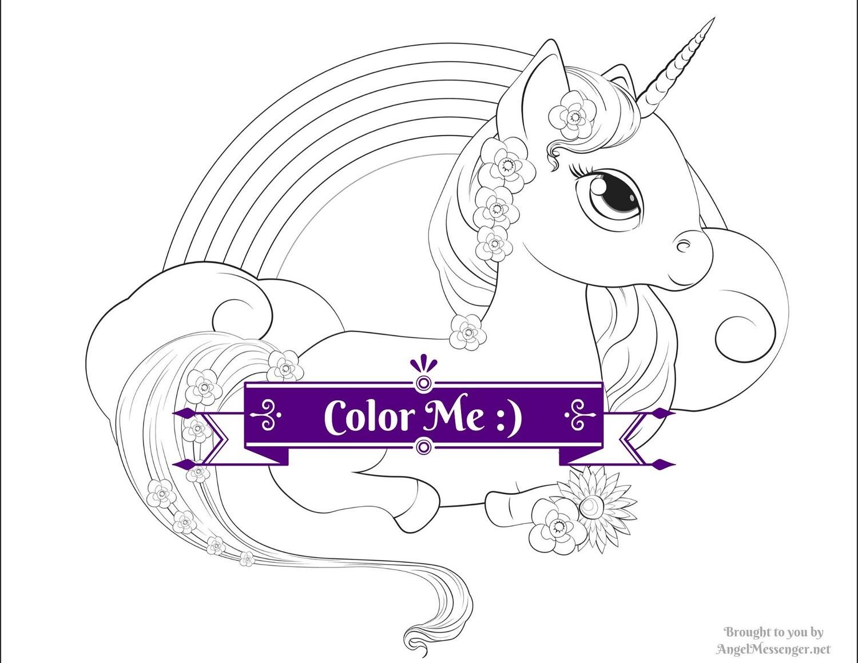 Unicorn Pony Rainbow Coloring Page