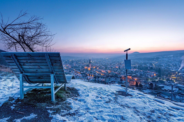 Winterlicher Sonnenaufgang über Ahrweiler - Leinwand