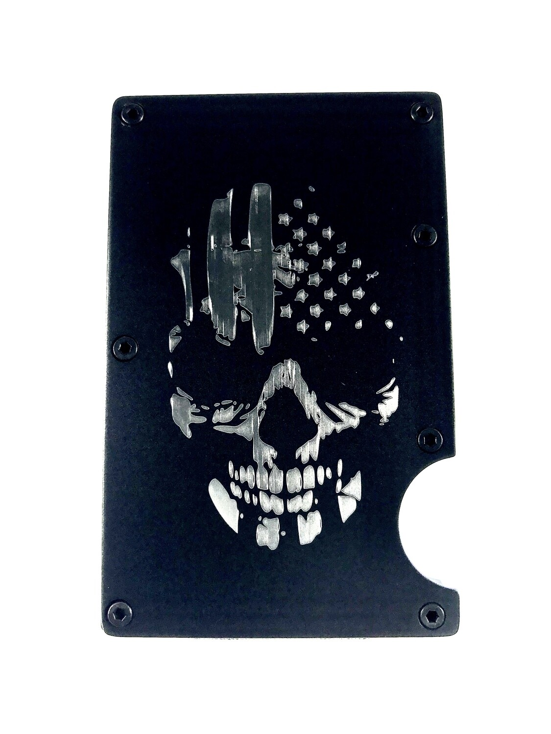 "R.F.I.D. Wallet Carrier ""American Flag Scull"""