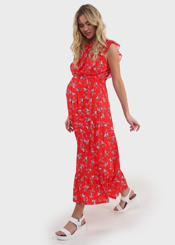 """Платье """"Амина"""" для беременных и кормящих: красный/цветы"""
