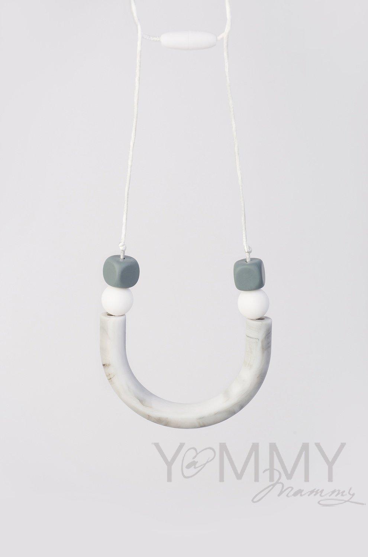 700.1.52 Бусы силиконовые мрамор/белый /серый