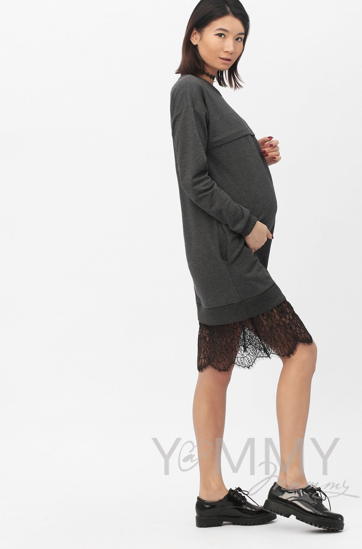 Платье с кружевом темно-серый меланж
