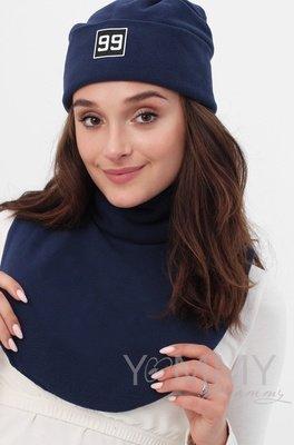 Манишка для мамы флисовая на липучке темно-синяя