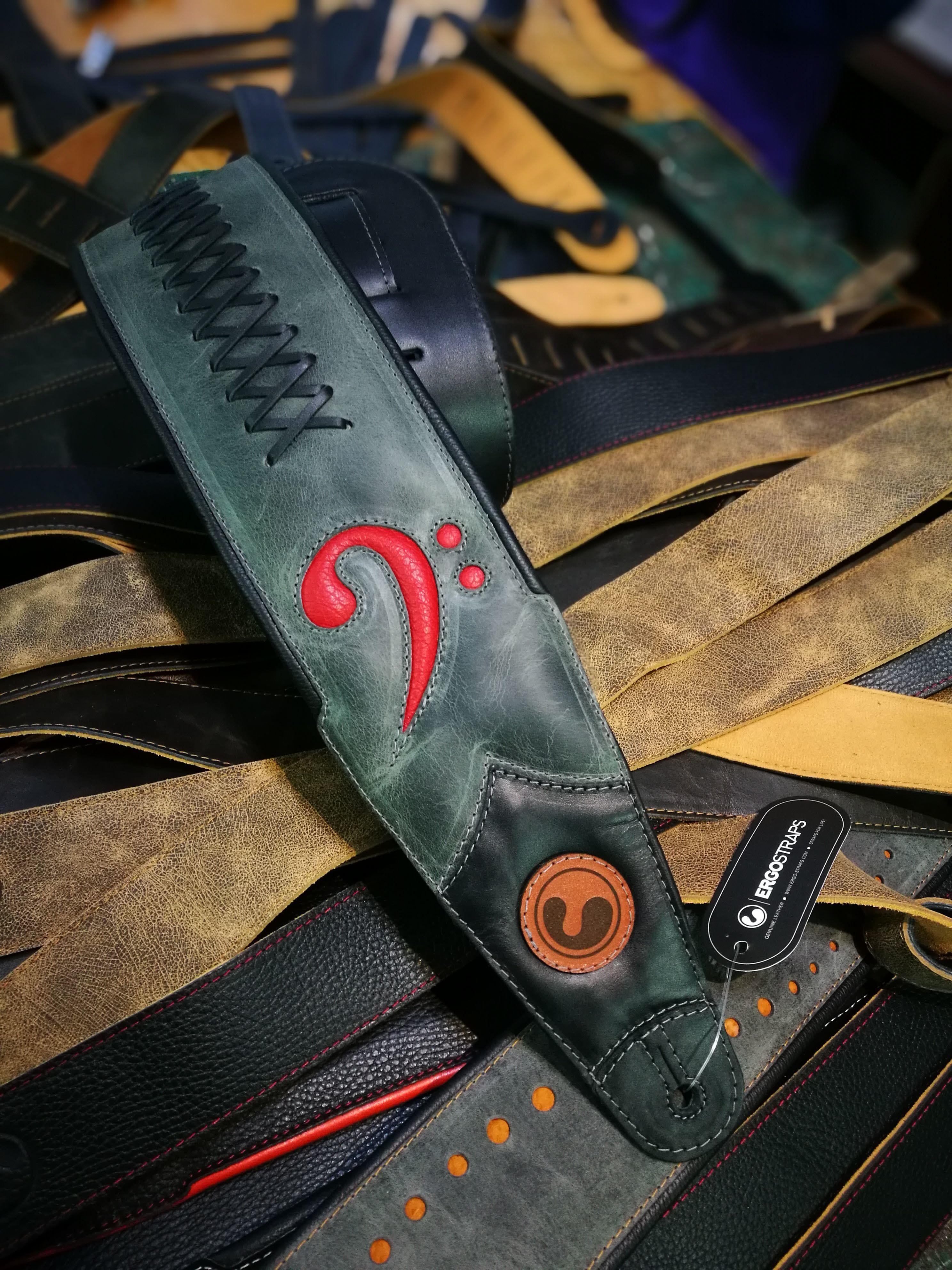 "FA CUSTOM 4"" Grey / Black / Red F Clef  (Padded, Genuine Leather) 00000"