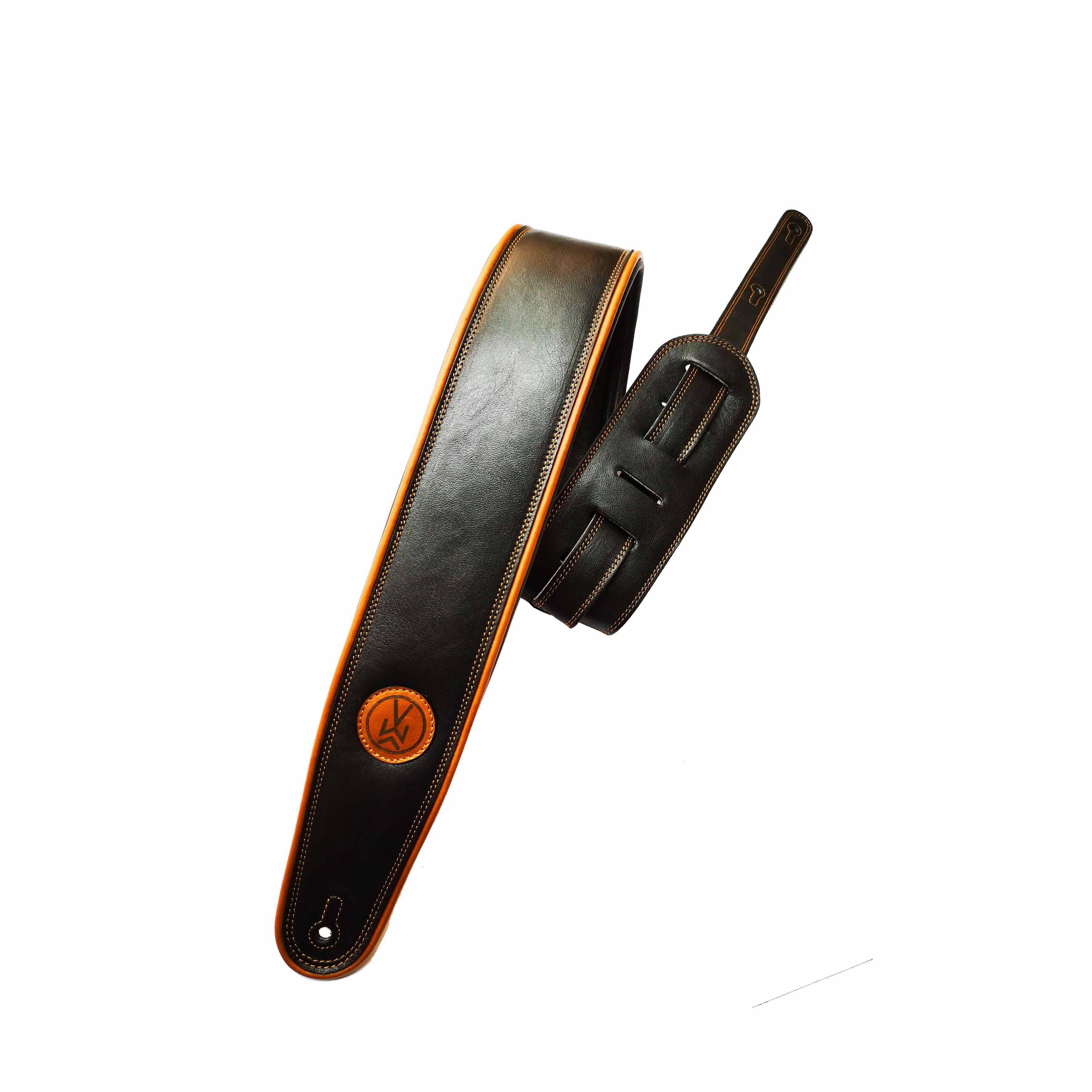 "VW SIGNATURE 3"" Black / Brown (Padded, Genuine Leather) VW301-BK-BR"
