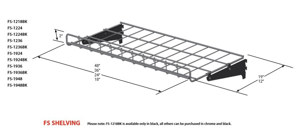 "FS Shelving Black (48""x19"") 14275"