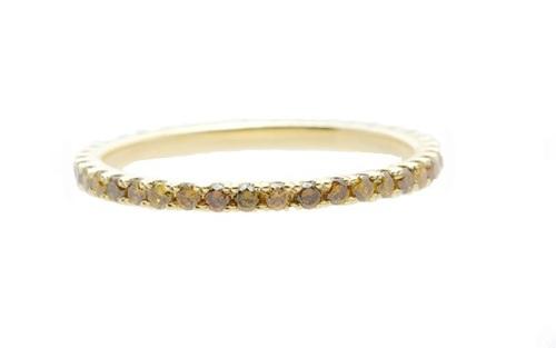 0.35TCW Art Deco Cognac Diamond Yellow Gold Eternity Ring 干邑彩鑽黃金戒環