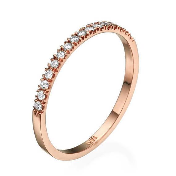 2 Stacking Ring Diamond Band, Wedding Set Ring, Bridal Set Ring, Engagement Ring Set, 18K Gold