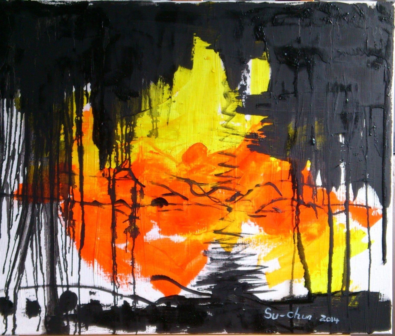 Flow Oil Painting by Artist Yu Suchun  20F (72.5x60x5cm)