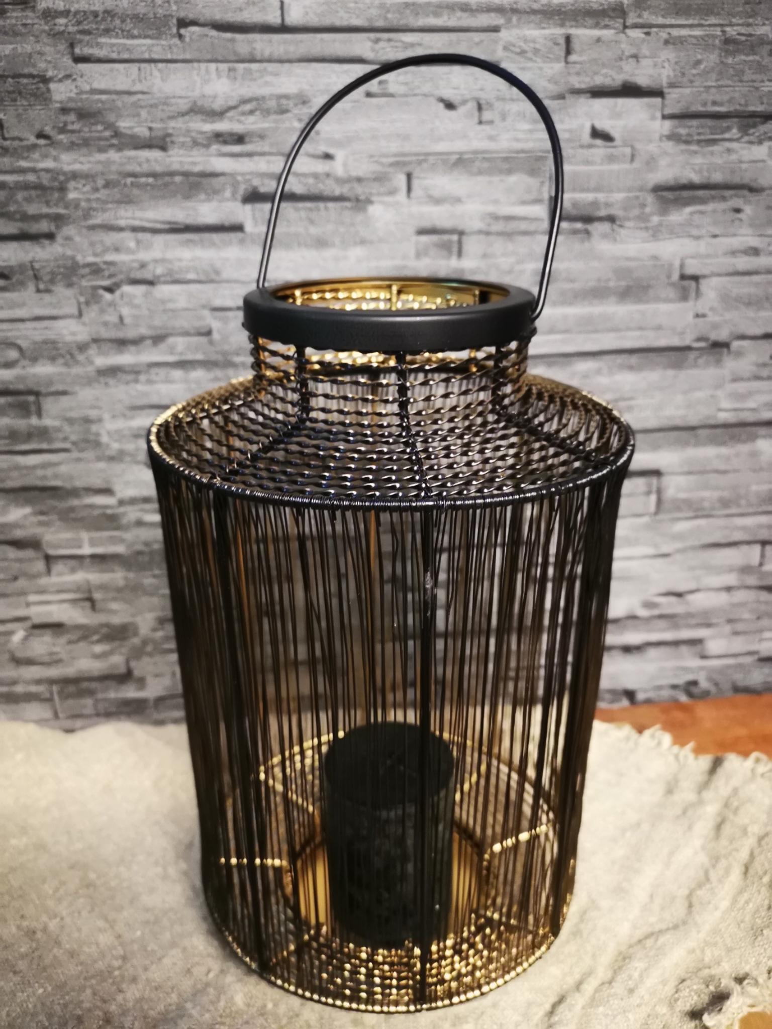 Lantaarn metaal zwart goud