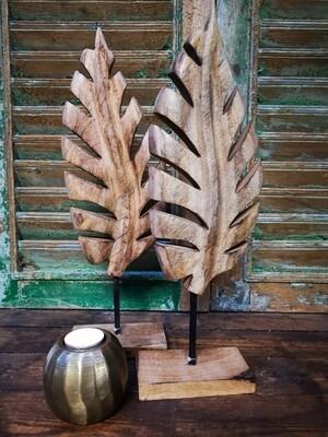Houten decoratie blad mango L