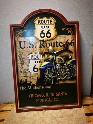 Schilderij route 66 motor