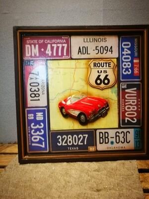 Schilderij kentekens auto