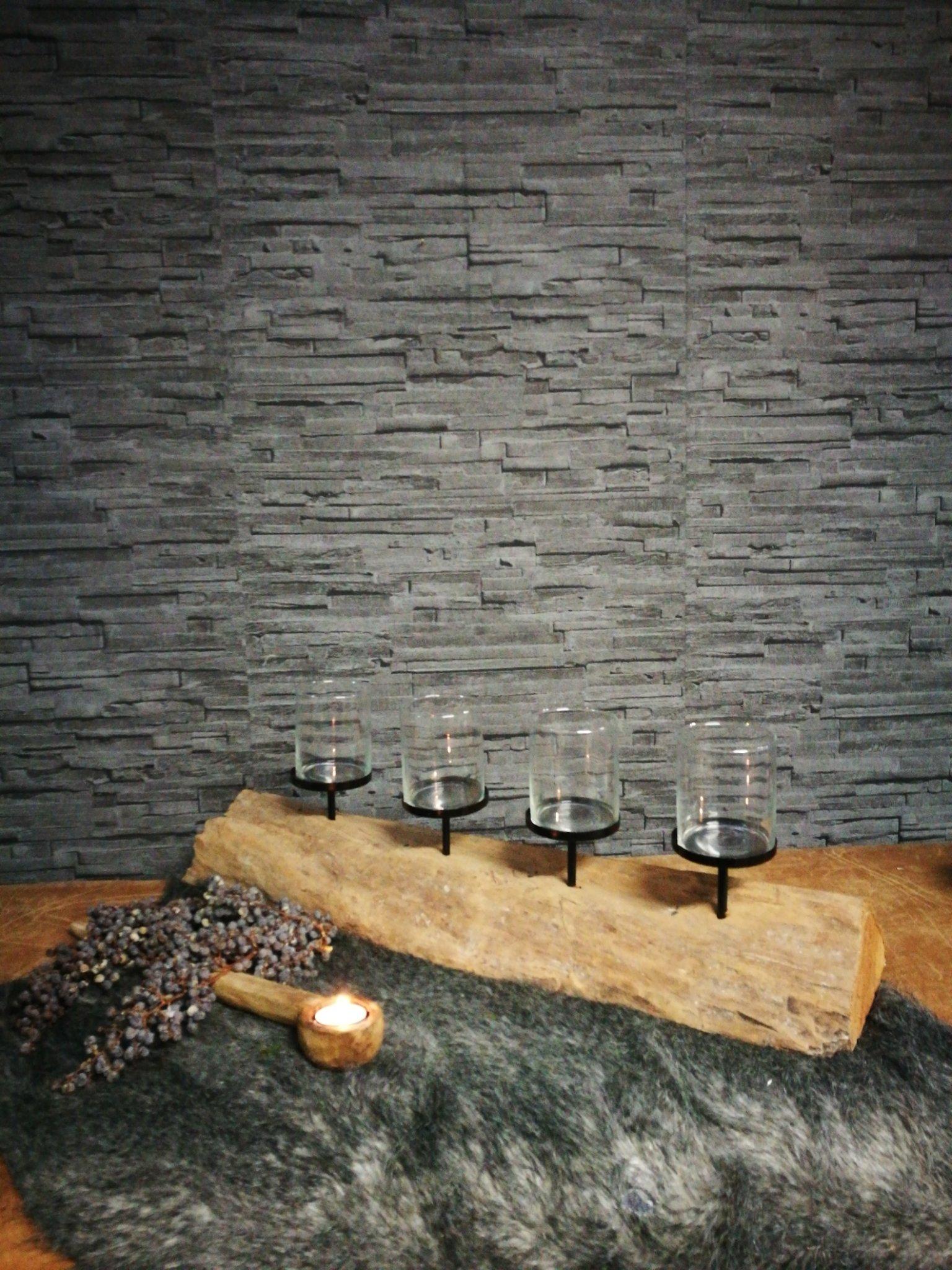 Kaarsenhouder houtblok #1 00273