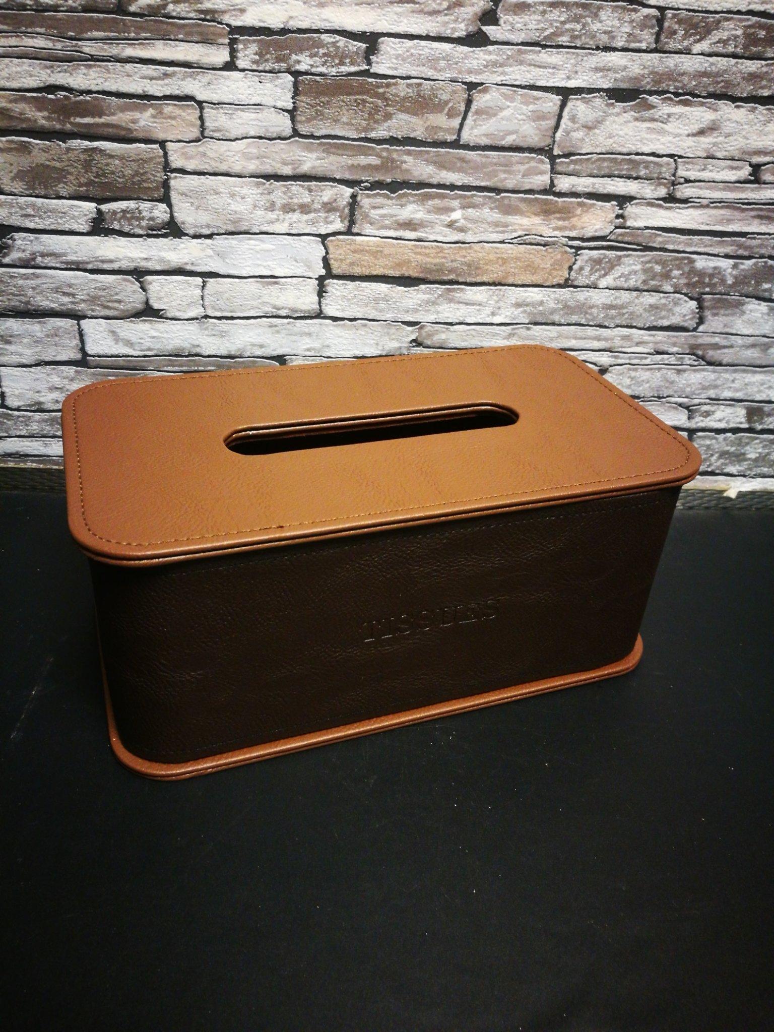 Leren tissue box 01106