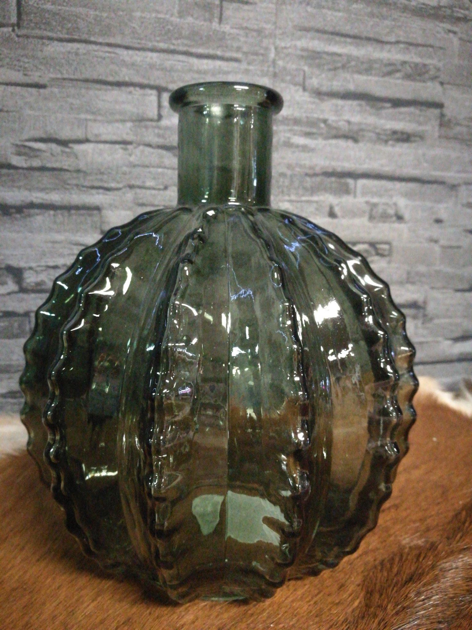 Glazen cactus vaas donker groen 01223