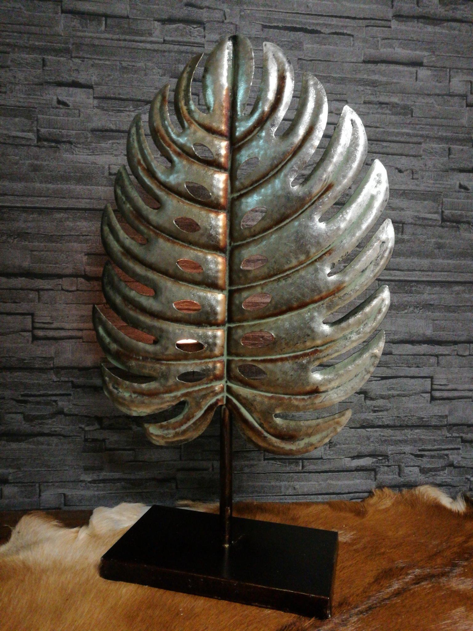Metalen decoratie blad met theelichthouder 01305