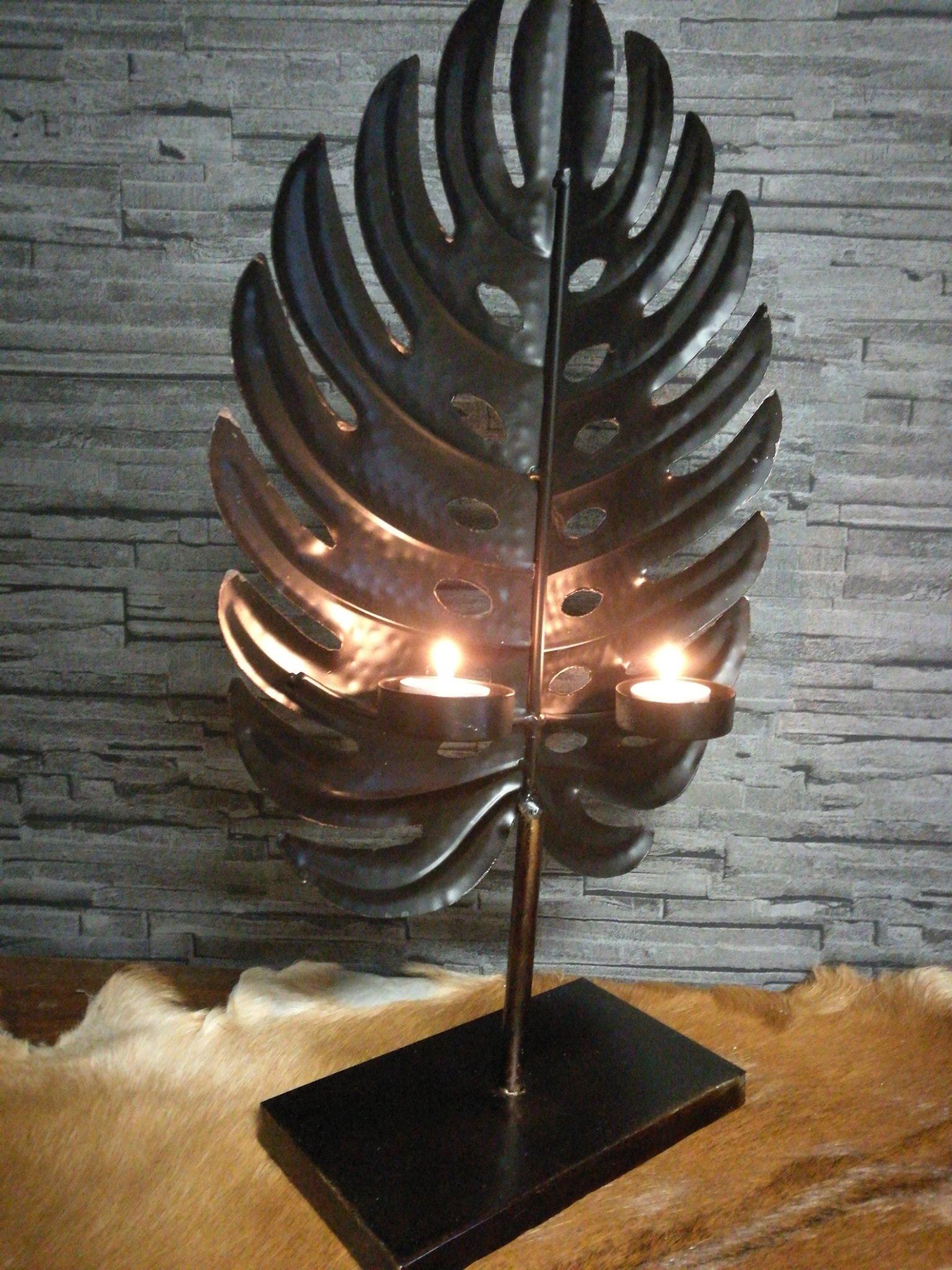 Metalen decoratie blad met theelichthouder
