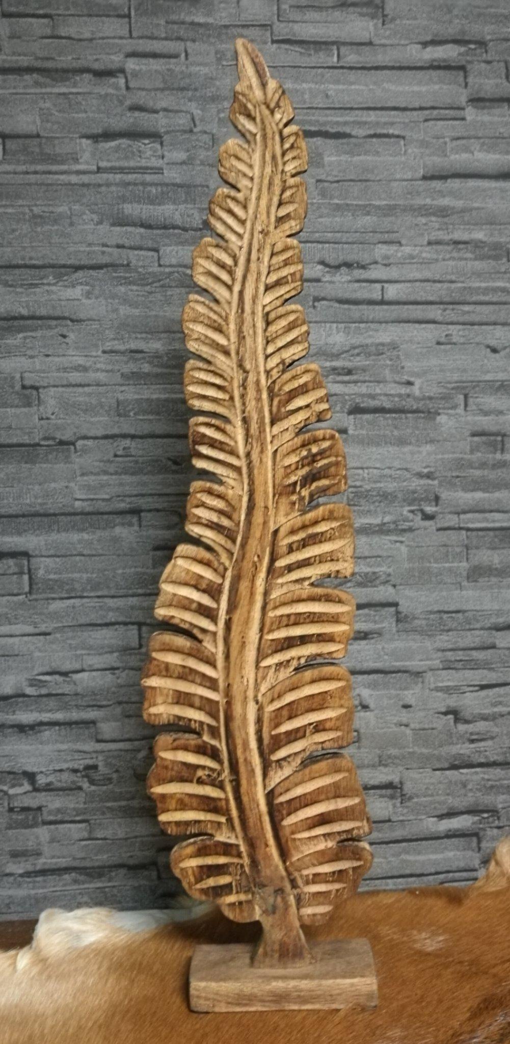 Houten decoratie blad mango 01368