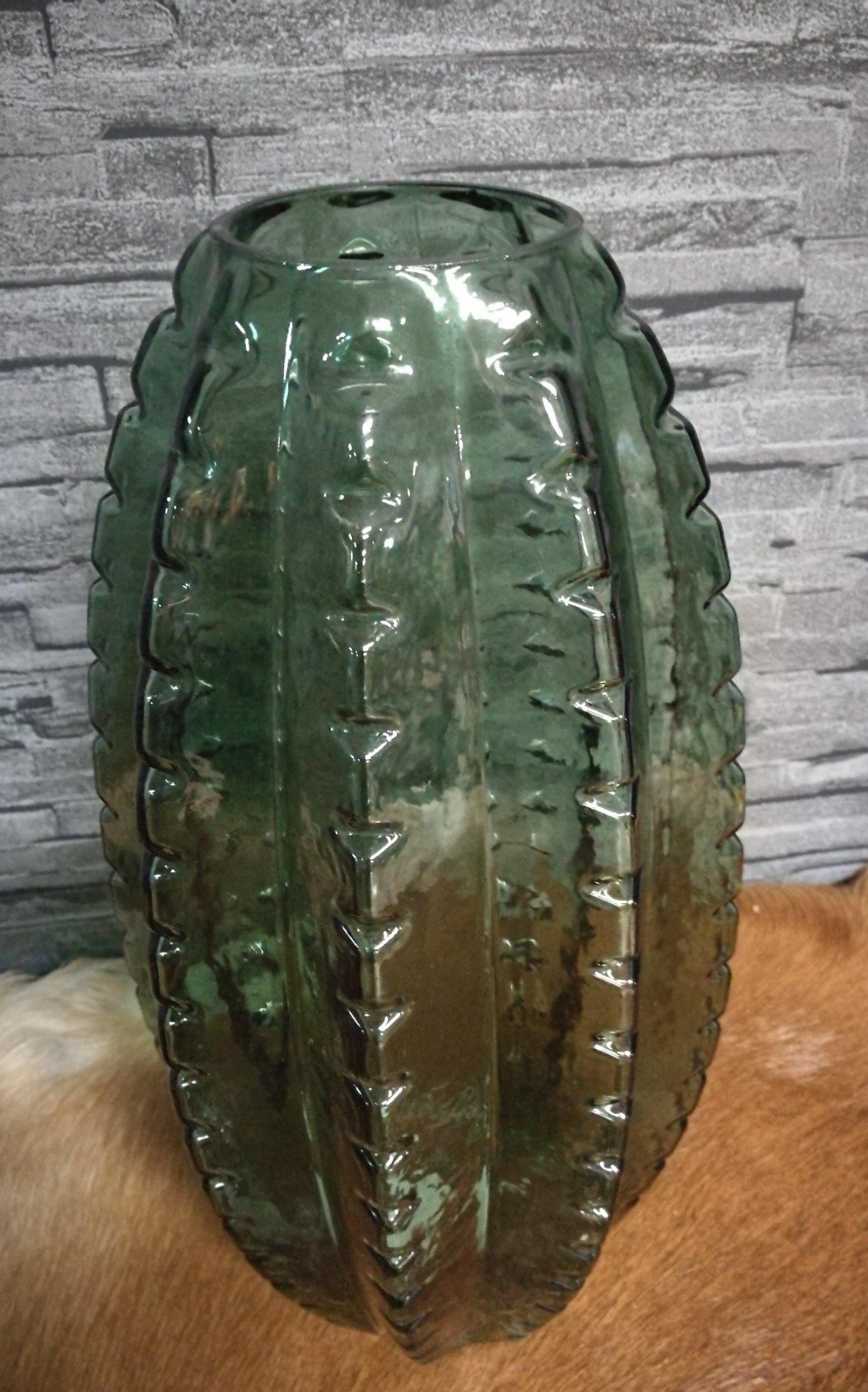 Glazen vaas cactus L 01369