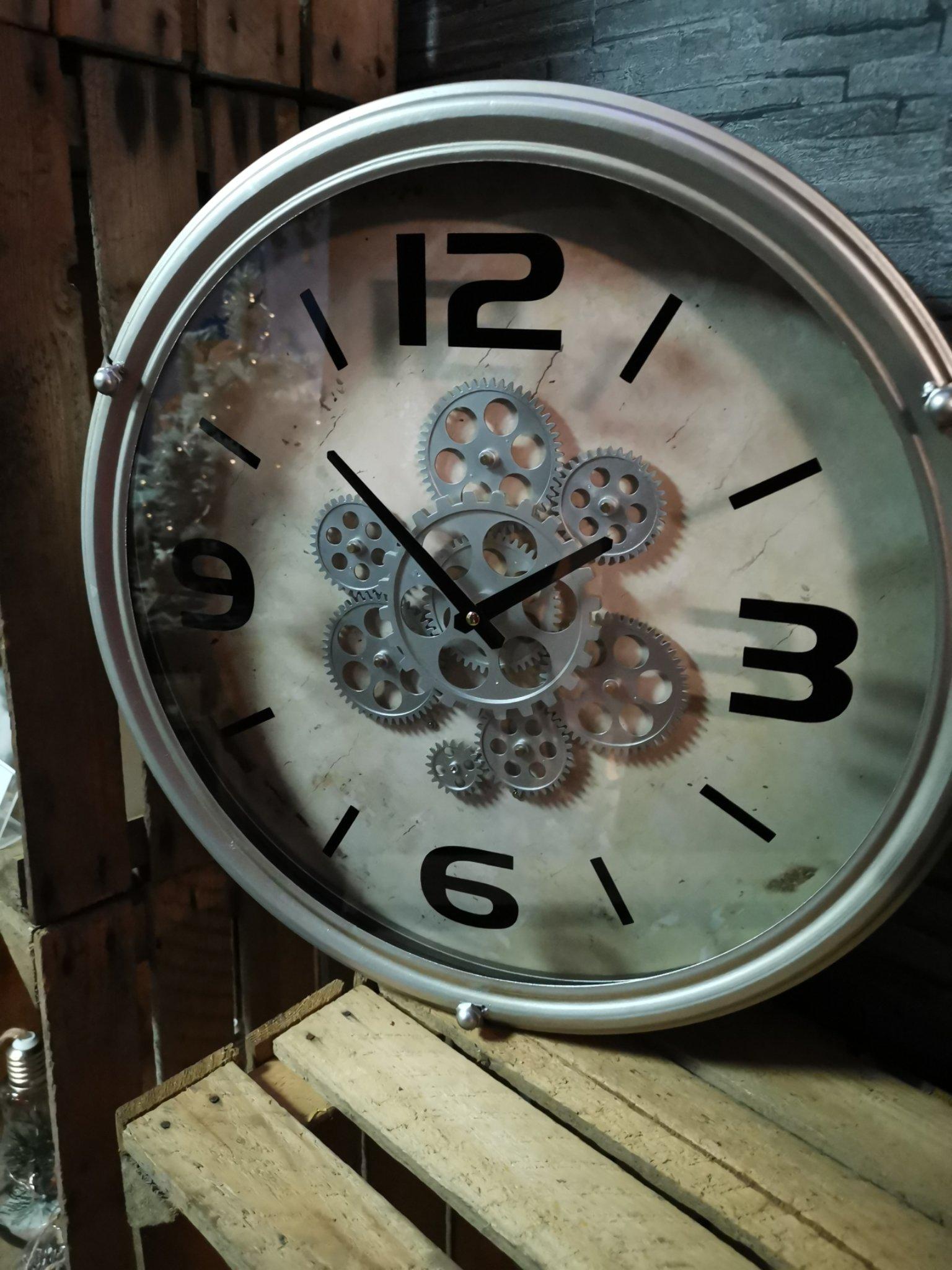 Wandklok tandwiel zilver 01620