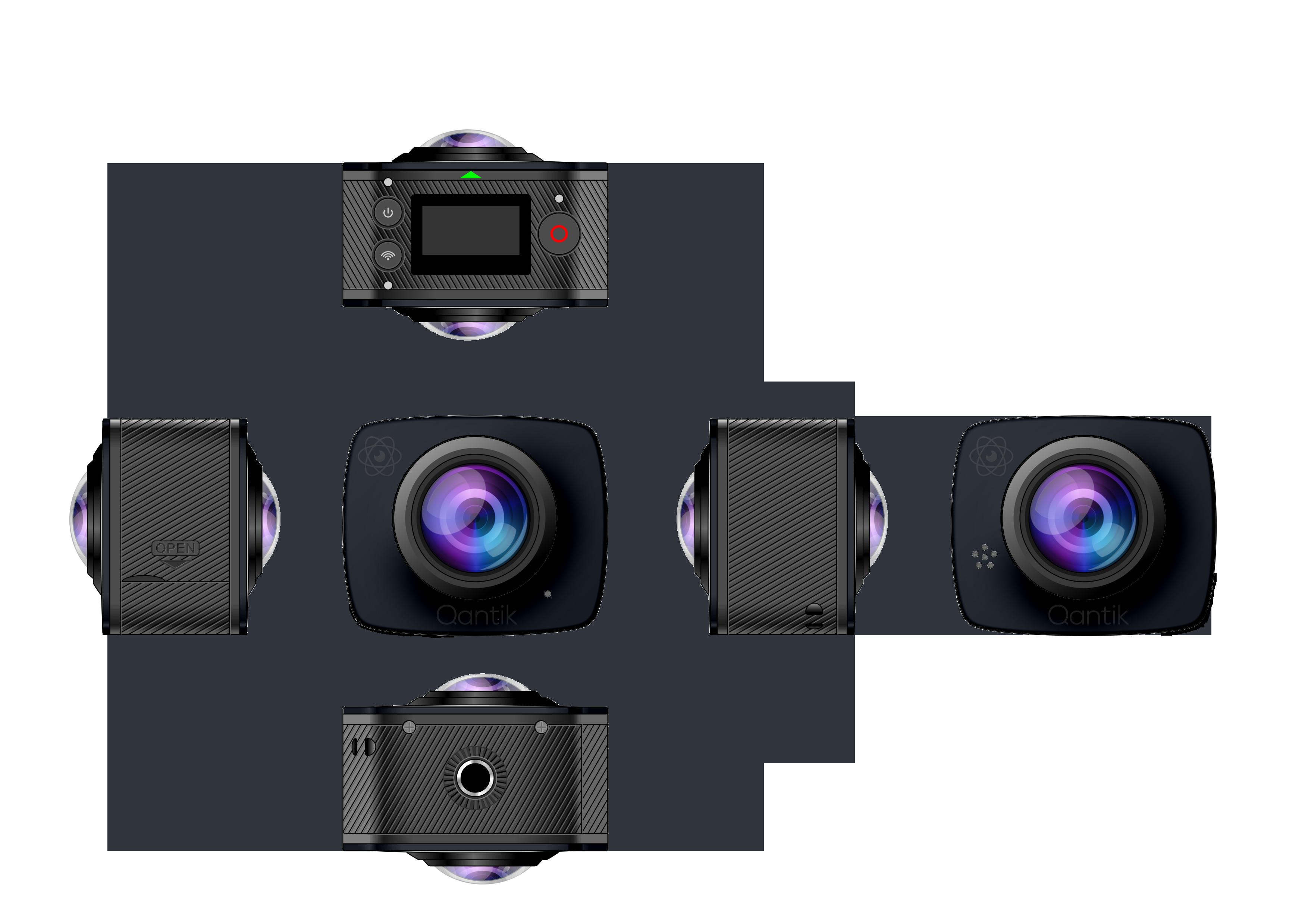 Vue des objectifs de la caméra