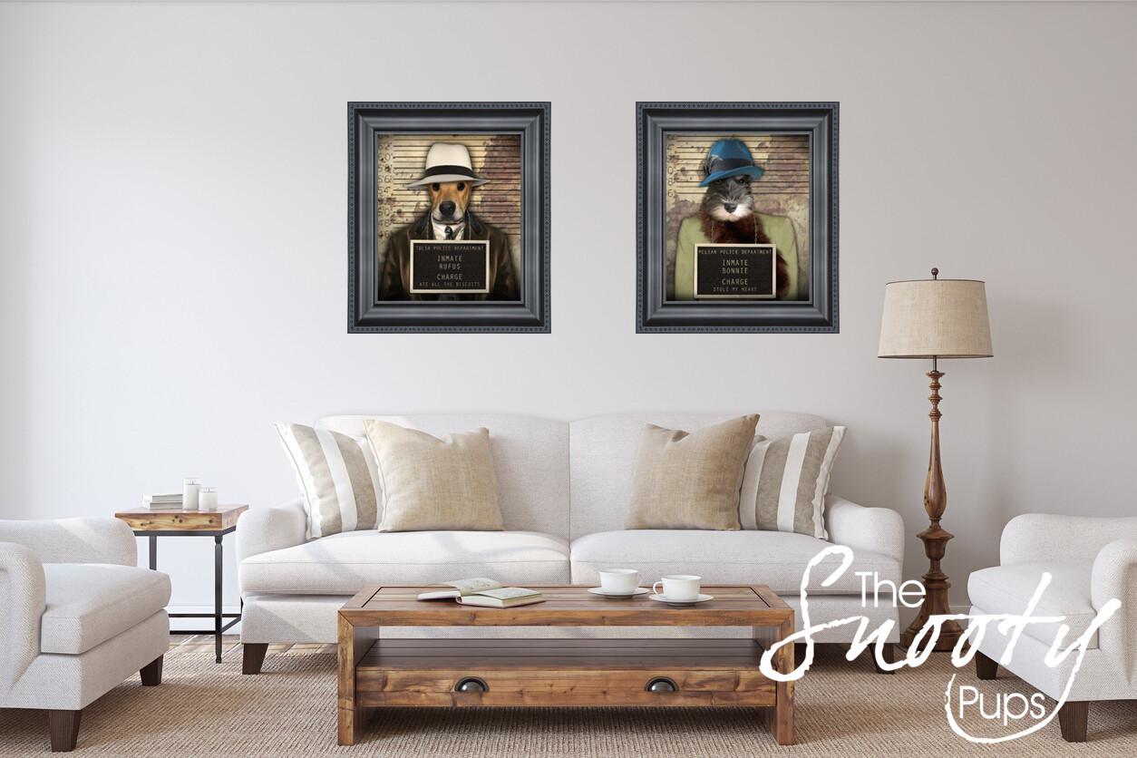 Couple Portrait Dog Portrait - Mobster Mafia
