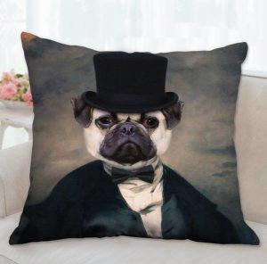 Pug Pillow, Pug Portrait, Pug Throw Pillow 00041