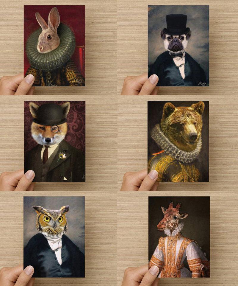 Note Cards - Pug, Lemur, Owl,  Bear, Crow, Fox, Giraffe, Monkey, Rabbit 00048