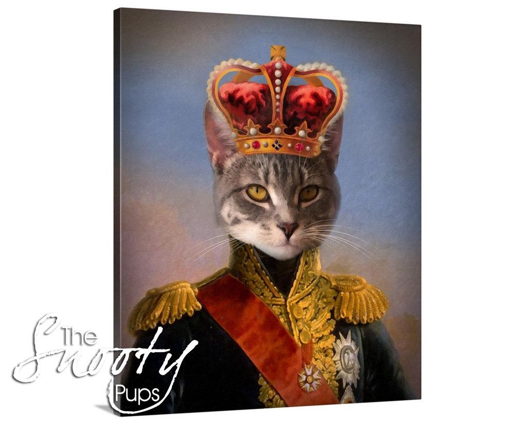 King Cat Portrait - Canvas