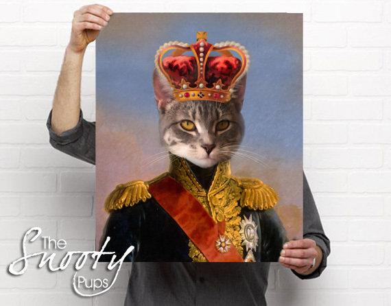 King Cat Portrait- Poster