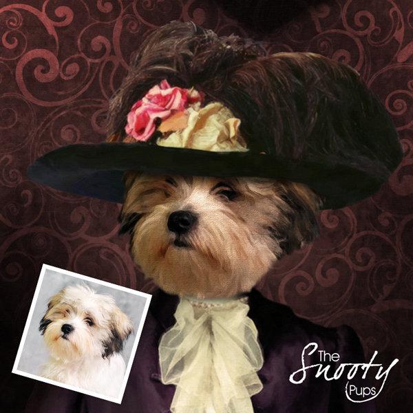 Victorian Lady Custom dog Portrait 00072
