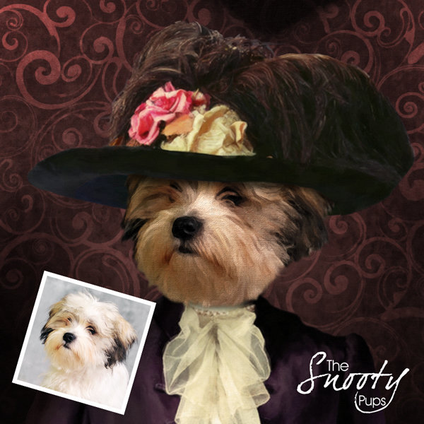 Custom dog Portrait - Victorian Lady