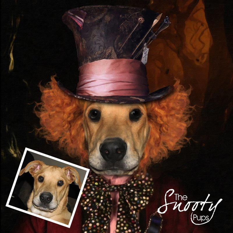 Custom dog Portrait - Mad Hatter