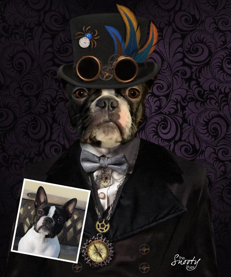 Steampunk Custom Dog Portrait 00087