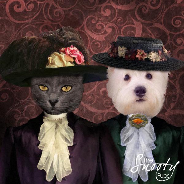 Vintage Couple Custom Pet Portrait 00100