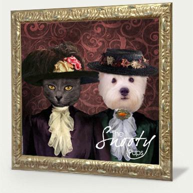 Vintage Couple Custom Pet Portrait