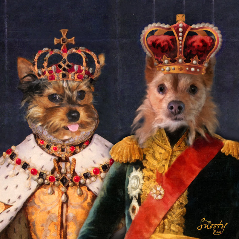 King & Queen Custom Couple Pet Portrait 00101